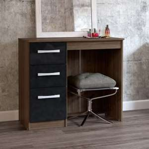 Carola Dressing Table In Walnut Black High Gloss And 3 Drawers