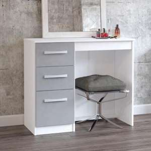 Carola Dressing Table In White Grey High Gloss With 3 Drawers