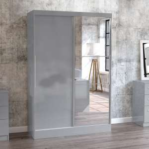 Carola Mirrored Sliding Wardrobe In Grey High Gloss With 2 Doors