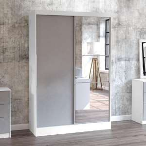 Carola Mirrored Sliding Wardrobe In White And Grey High Gloss