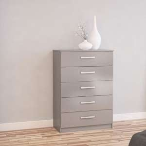 Carola Chest Of Drawers In Grey High Gloss With 5 Drawers