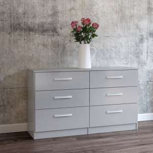 Carola Chest Of Drawers In Grey High Gloss With 6 Drawers