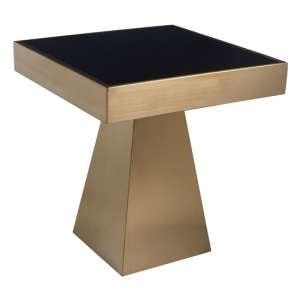 Carolex Square Black Glass Side Table With Gold Base