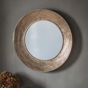 Caroline Contemporary Wall Mirror Round In Iron Frame