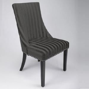 Carolyn Fabric Dining Chair In Velvet Stripe Charcoal