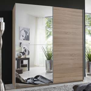 Carra Sliding Door Wooden Wardrobe In Oak With 1 Mirror
