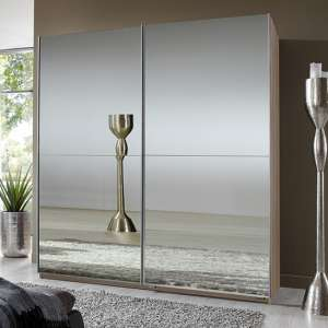 Carra Sliding Door Wooden Wardrobe In Oak With 2 Mirrors
