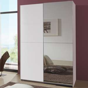 Carra Sliding Door Wooden Wardrobe In White With 1 Mirror