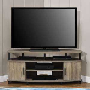Carson Corner Wooden TV Stand In Distressed Oak