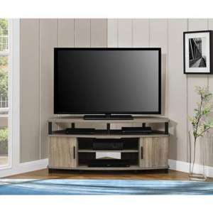 Carson Wooden Corner TV Stand In Distressed Grey Oak