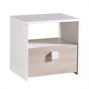Carson Childrens Bedside Cabinet In Acacia And Pearl White