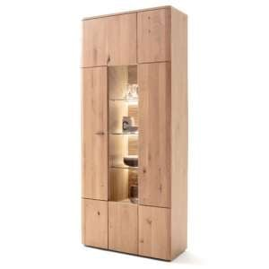 Cartago LED Wooden Display Cabinet In Planked Oak With 2 Doors