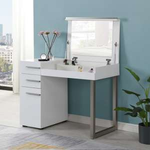 Carter High Gloss Dressing Table With Mirror In White