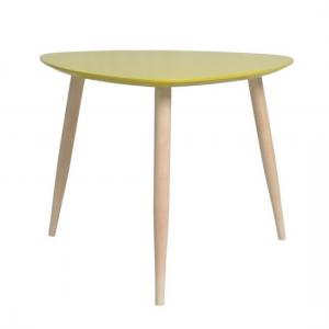 Carter Wooden Side Table Triangular In Yellow