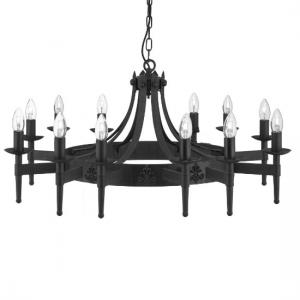 Cartwheel 12 Light Ceiling Light In Black Wrought Iron