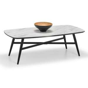 Caruso Rectangular Marble Coffee Table In Matt White