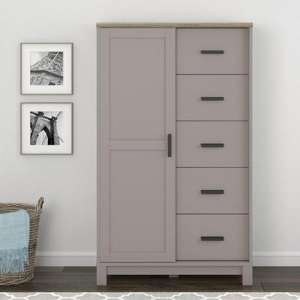 Carver Gentlemans Chest Of Drawers In Grey And Weathered Oak