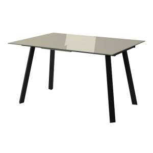 Carver Glass Extending Dining Table In Taupe With Steel Legs