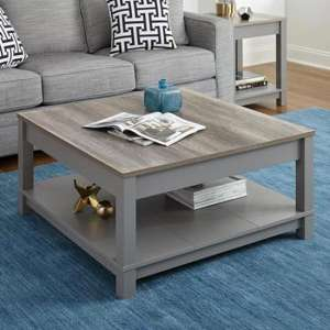 Carver Wooden Coffee Table In Grey And Weathered Oak
