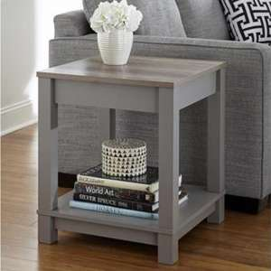 Carver Wooden End Table In Grey And Weathered Oak