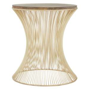 Casa Hour Glass Design Side Table In Gold