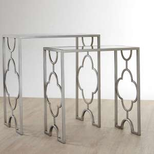 Cascade Set Of 2 Side Tables In Mirrored Glass And Silver Leaf