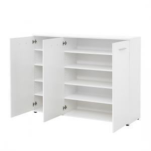 casey modern shoe storage cabinet in white with 3 doors6