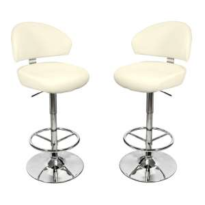 Casino Cream Leather Bar Stool In Pair