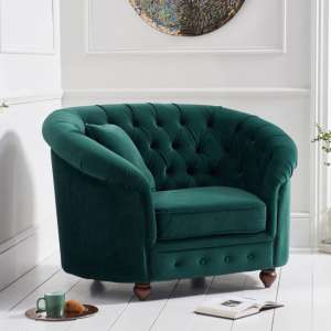 Casiyop Chesterfield Plush Fabric Upholstered Armchair In Green