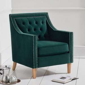 Casoba Plush Fabric Upholstered Armchair In Green
