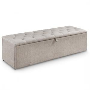 Casper Contemporary Fabric Blanket Box In Mink Chenille