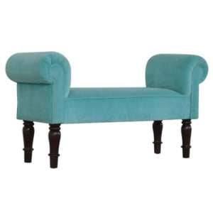 Cassia Velvet Hallway Seating Bench In Turquoise
