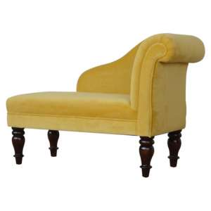Cassia Velvet Lounge Chaise Chair In Mustard