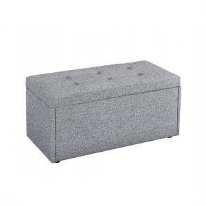 Castel Fabric Ottoman Storage Bench In Soft Grey