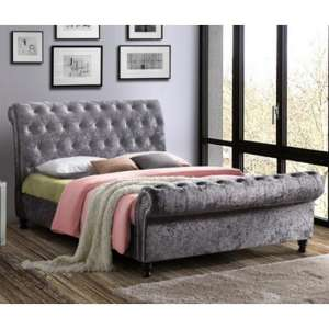 Castello Fabric Super King Bed In Steel Crushed Velvet