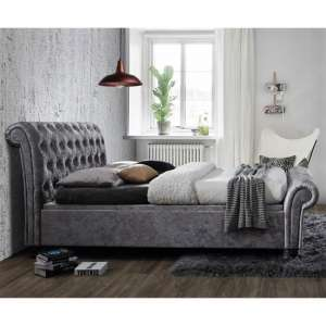 Castello Side Ottoman Double Bed In Steel Crushed Velvet