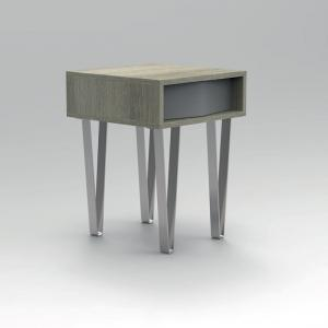 Castera Wooden Side Table Square In Oak With Chrome Feet