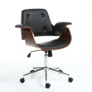 Castleton Office Chair In Black PU And Walnut With Castors