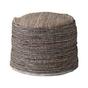 Castro Fabric Upholstered Round Pouffe In Jute