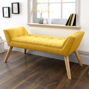 Cayman Fabric Chaise In Yellow With Wooden Feet