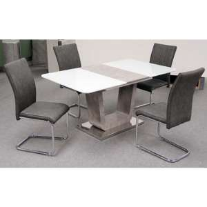 Ceibo High Gloss White Glass Extending Dining Set With 4 Chairs