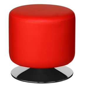 Ceko Faux Leather Cylinder Stool In Red