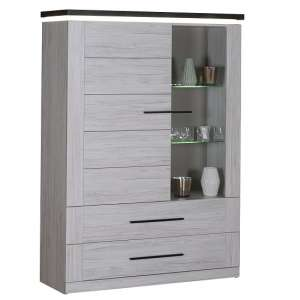 Celestine Display Cabinet In Oak And Dark Concrete With LED