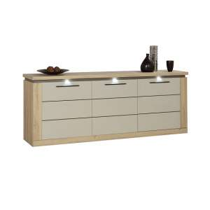 Celestine Sideboard In Grandson Oak And Pebble Grey With LED