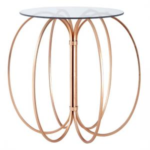 Clemma Side Table In Clear Glass Top With Rose Gold Frame