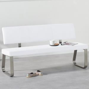 Celina Large Dining Bench In White Faux Leather