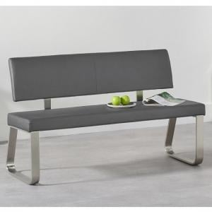 Celina Medium Dining Bench In Grey Faux Leather