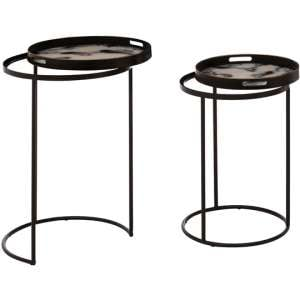 Baekdu Set Of 2 Marble Effect Nesting Tables