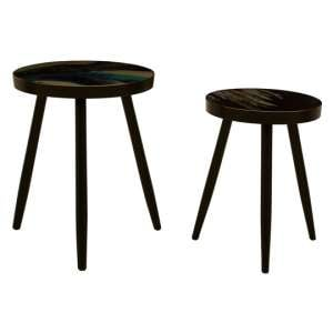 Baekdu Set Of 2 Turquoise Side Tables With Green Shaded Tops