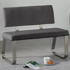 Celina Small Dining Bench In Grey Faux Leather